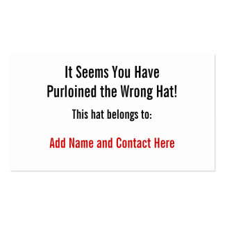 The Wrong Hat Double-Sided Standard Business Cards (Pack Of 100)