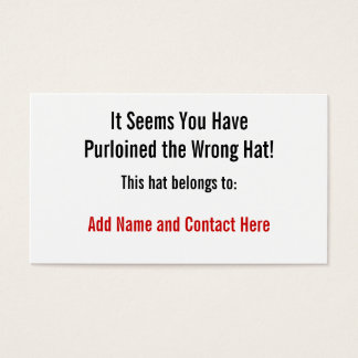 The Wrong Hat Business Card