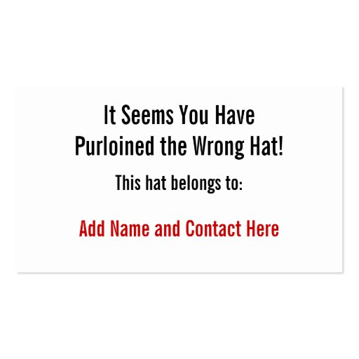 The Wrong Hat Business Card Template