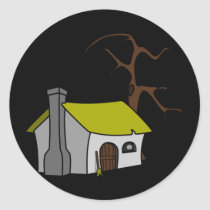 The wtch's cottage classic round sticker