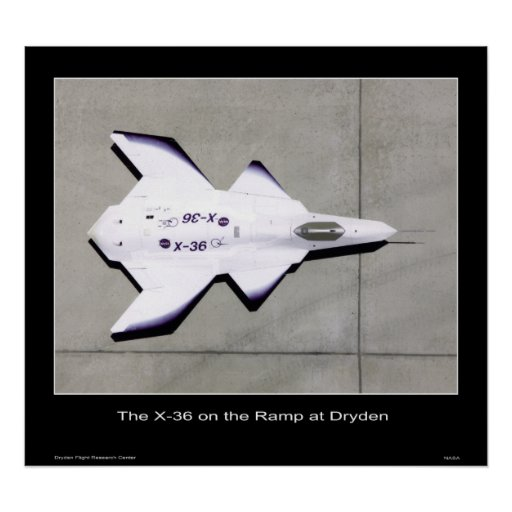 The X-36 on the ramp at Dryden - NASA Print