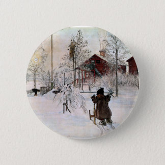 The Yard and Wash-House, Carl Larsson Pinback Button