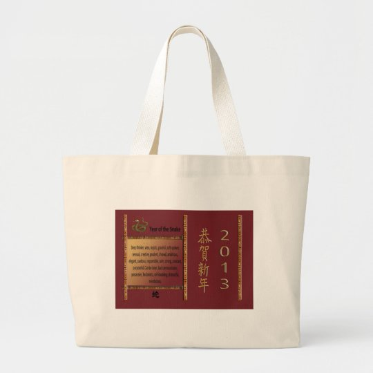 The Year of the Snake, 2013, Happy New Year in Chi Large Tote Bag