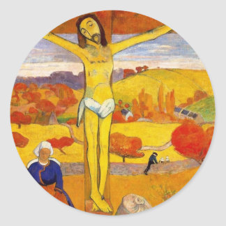 The Yellow Christ by Paul Gauguin Round Sticker