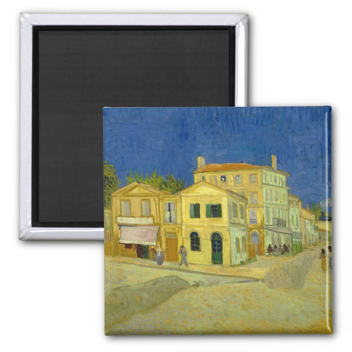 The Yellow House (F464) Van Gogh Fine Art 2 Inch Square Magnet