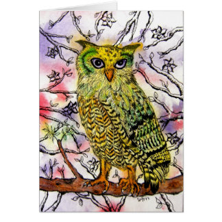 The Yellow Owl Notecard Greeting Card