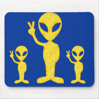 The Yellow Peace Alien Mouse Pad