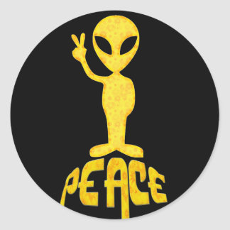 The Yellow Peace Alien Stickers