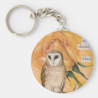 The Yellow Rose and the Dainty Owl Key Chain