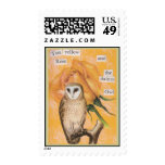 The Yellow Rose, and the Dainty Owl Postage Stamps
