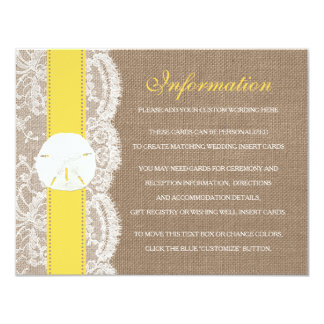 The Yellow Sand Dollar Beach Wedding Collection 4.25x5.5 Paper Invitation Card