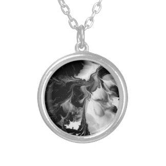 THE YIN & THE YANG (black & white abstract art) ~. Silver Plated Necklace