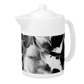 THE YIN & THE YANG (black & white abstract art) ~. Teapot