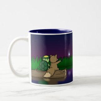 The Youkai Pond- Kappa and Kitsune Two-Tone Coffee Mug