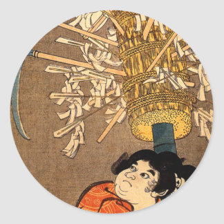 The young Benkei holding a pole Classic Round Sticker