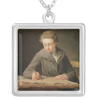 The young draughtsman, Carle Vernet, 1772 Silver Plated Necklace