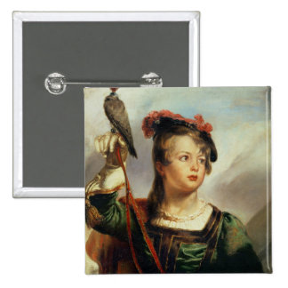 The Young Falconer, 1835 (oil on panel) Pinback Button