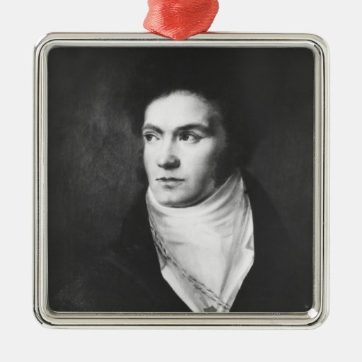 The young Ludwig van Beethoven  1806 Square Metal Christmas Ornament