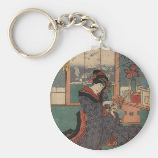 The young maiden Omiwa of the liquor store Sugizak Basic Round Button Keychain