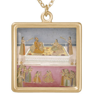 The young Mughal Emperor Muhammad Shah at a nautch Necklaces