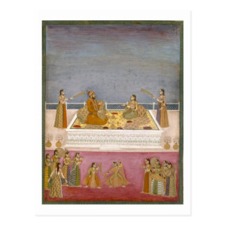 The young Mughal Emperor Muhammad Shah at a nautch Postcard