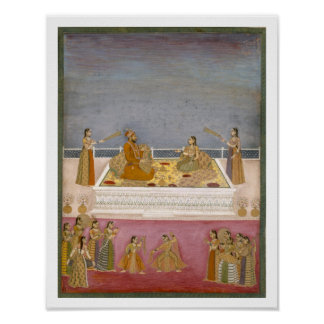 The young Mughal Emperor Muhammad Shah at a nautch Poster