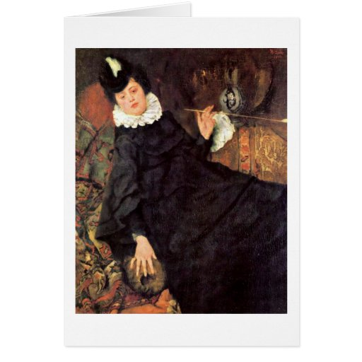 The Young Parisian Woman By Wilhelm Leibl Greeting Cards