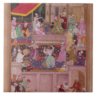 The young Prince with his parents, from the 'Akbar Ceramic Tiles