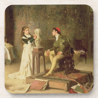 The Young Sculptress (oil on canvas) Beverage Coaster