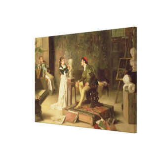 The Young Sculptress (oil on canvas) Canvas Print