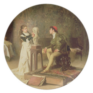The Young Sculptress (oil on canvas) Dinner Plate