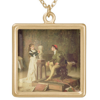 The Young Sculptress (oil on canvas) Gold Plated Necklace