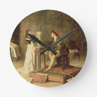 The Young Sculptress (oil on canvas) Round Clock