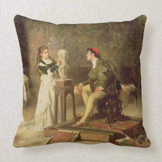 The Young Sculptress (oil on canvas) Throw Pillow