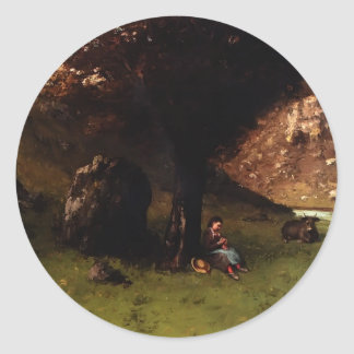 The Young Shepherdess by Gustave Courbet Sticker