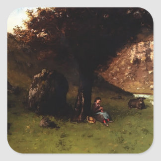 The Young Shepherdess by Gustave Courbet Square Sticker