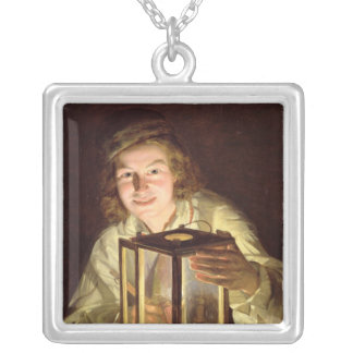 The Young Stableboy with a Stable Lamp, 1824 Square Pendant Necklace