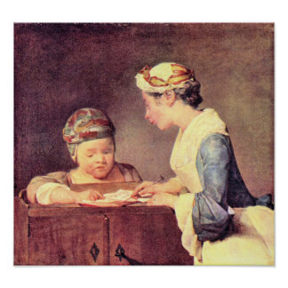 The young teacher by Jean Chardin Print