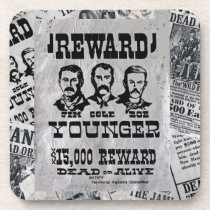The Younger Brothers Wanted Poster Beverage Coaster