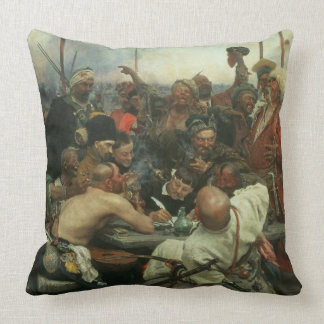 The Zaporozhye Cossacks writing a letter Throw Pillows