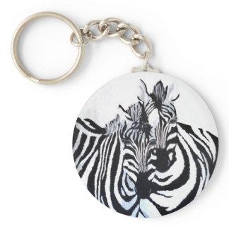 The Zebras (Acrylic by Kimberly Turnbull Art) Keychain