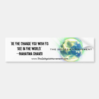 The Zeitgeist Movement Bumper Sticker Car Bumper Sticker