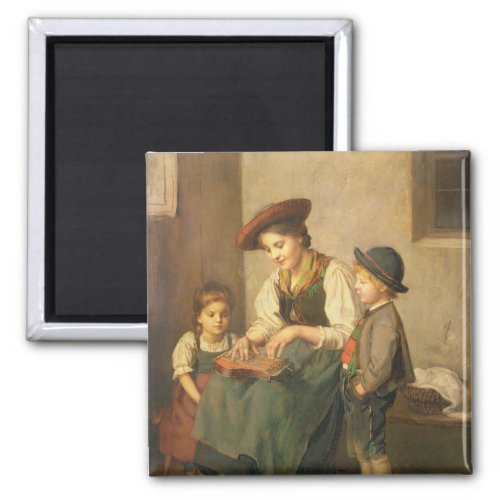 The Zither Player by Franz von Defregger 2-inch Square Magnet