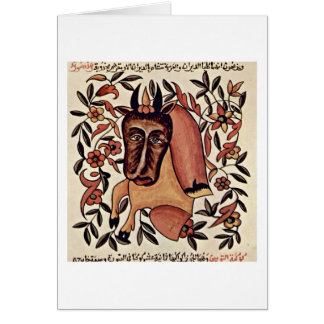 The Zodiac Figure Taurus By Arab Painter Greeting Card