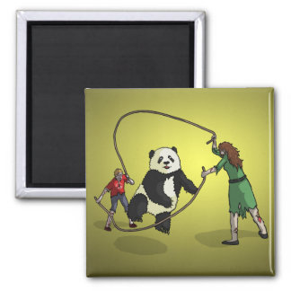 The Zombie-Panda Jump Rope Team, 2 Inch Square Magnet