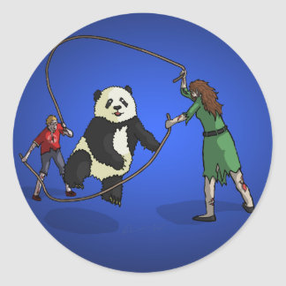The Zombie-Panda Jump Rope Team, Classic Round Sticker