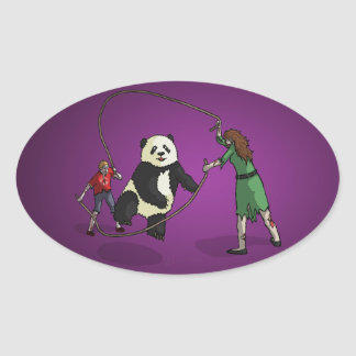The Zombie-Panda Jump Rope Team, Oval Sticker