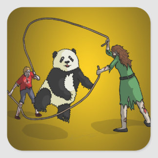 The Zombie-Panda Jump Rope Team, Square Stickers