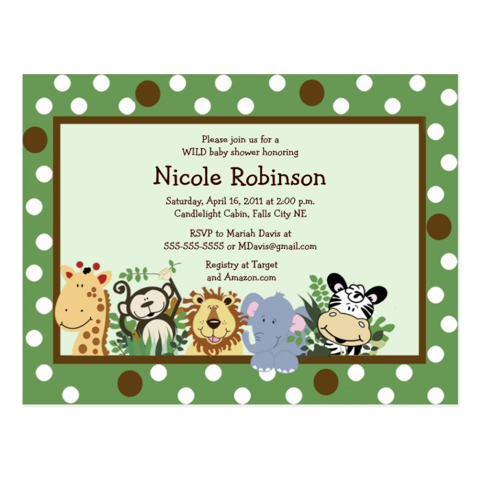 THE ZOO CREW Jungle animals baby shower postcard