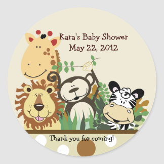 The Zoo Crew Jungle Animals Favor Sticker - Tan